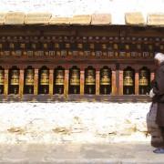 Bhutan Pilgrim and Prayer Wheels